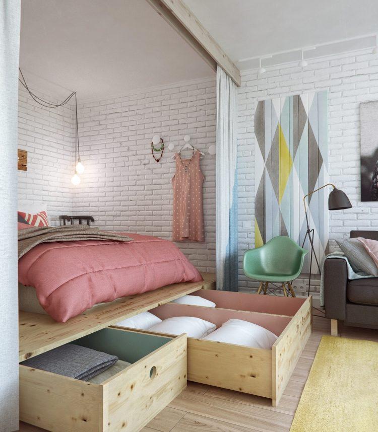 кровать из массива с ящиками для белья фото идеи для маленькой спальни