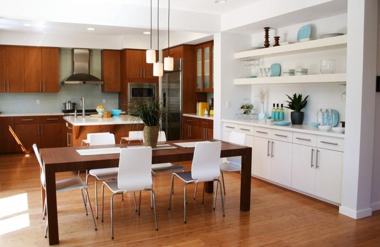 кухня столовая дизайн интерьера фото белый голубой коричневый