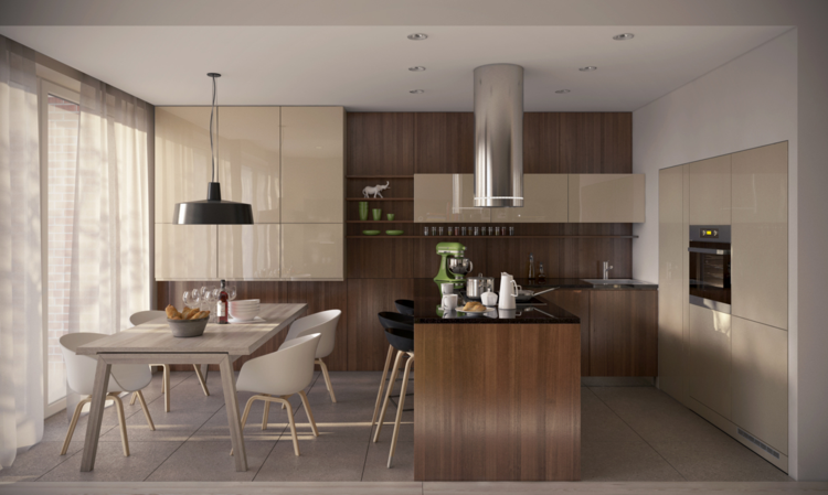 кухня столовая интерьер 20 кв м фото бежевый коричневый черный