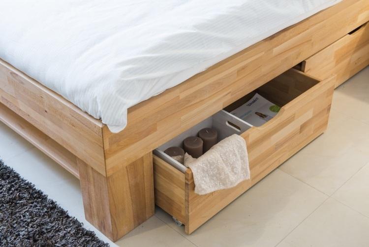 массив дерева кровать с двумя ящиками фото идеи для маленькой спальни