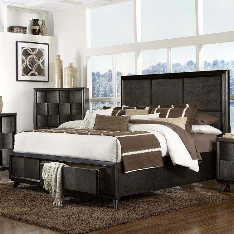 массив кровать с ящиками для хранения черный цвет фото идеи для маленькой спальни