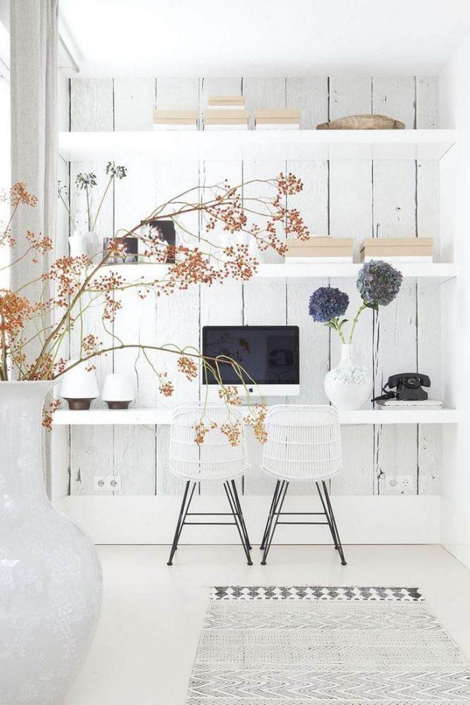 рабочее место кабинет интерьер дизайн белый цвет фото