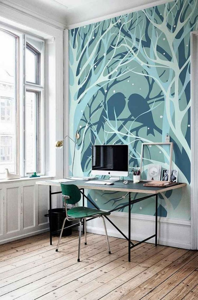 рабочее место красивое фото рисунок на стене мятный синий голубой