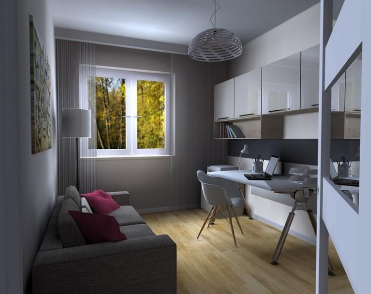 рабочее место в домашних условиях фото интерьер дизайн серый цвет деревянный пол глянцевые фасады