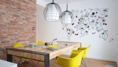 современный интерьер дизайн столовой фото кирпичная стена