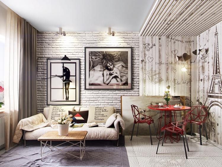 выделение обеденной зоны фото квартира студия гостиная столовая