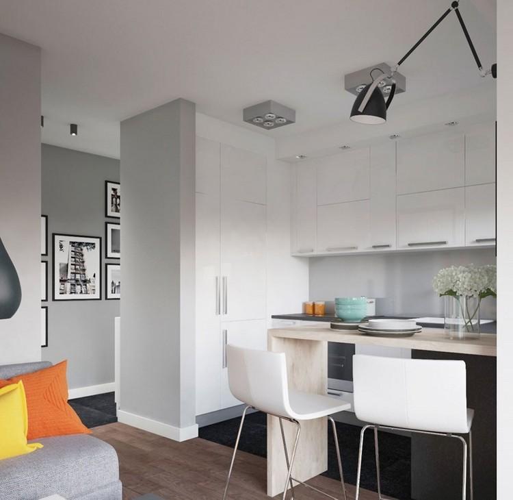 белые барные стулья со спинкой фото квартира студия