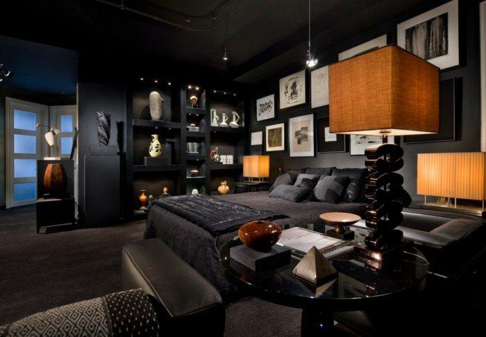 черная спальня освещение фото