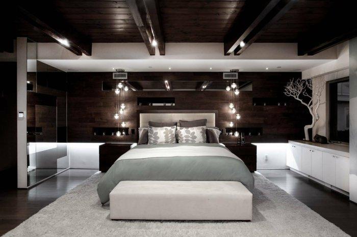 черно-белая спальня освещение фото идея