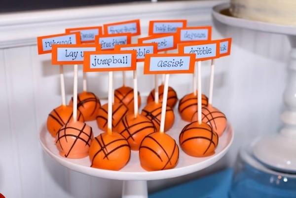 декор оформление детского праздника фото в стиле баскетбол спорт мальчики еда идея