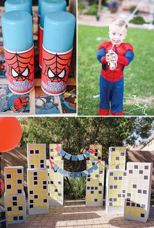 декор оформление детского праздника фото в стиле человек паук мальчик костюм