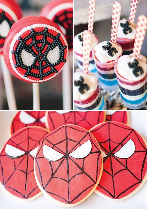 декор оформление детского праздника фото в стиле человек-паук мальчик
