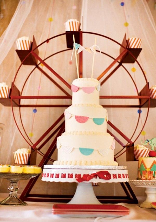 декор оформление детского праздника фото в стиле цирк аттракционы торт