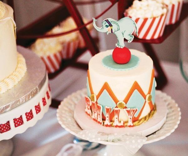 декор оформление детского праздника фото в стиле цирк торт слон