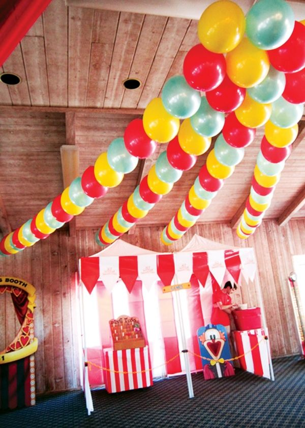 декор оформление детского праздника фото в стиле цирк украшения шариками