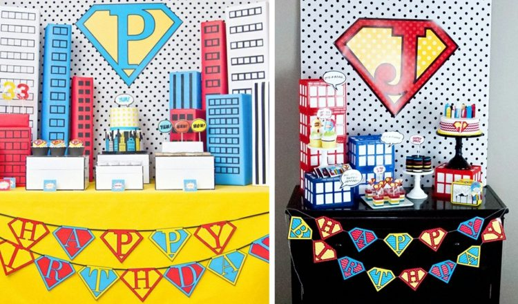 декор оформление детского праздника фото в стиле супермен украшения супергерои