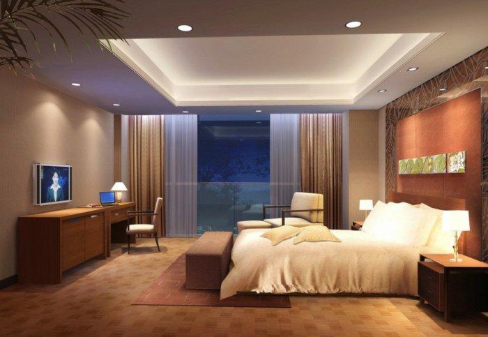 дизайн освещения спальни фото навесной потолок точечное освещение