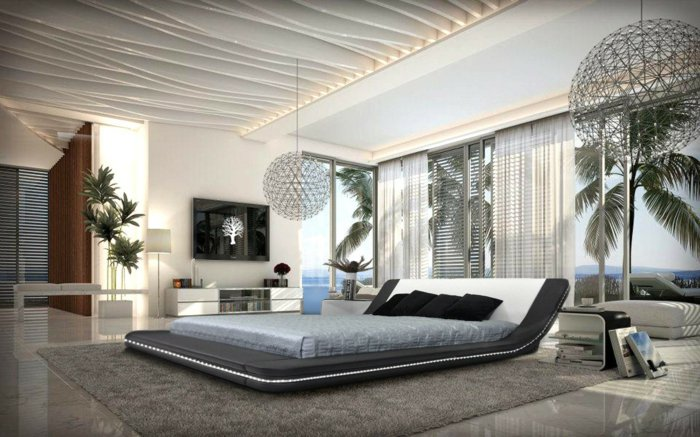 дизайн освещения спальни идея фото