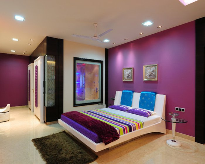 дизайн спальни фуксия освещение фото