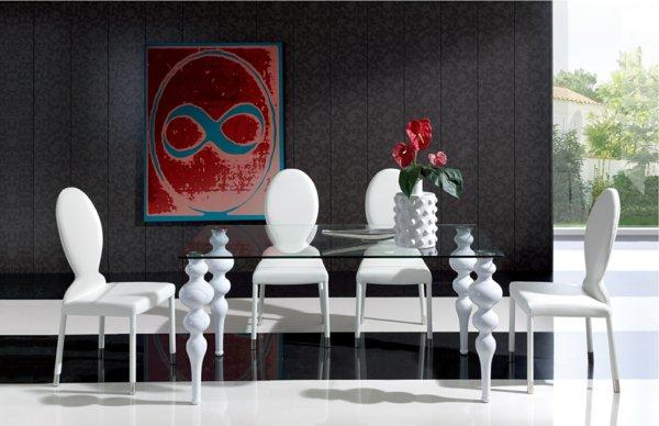 кожаные стулья обеденные для кухни фото белые стеклянный стол необычная форма