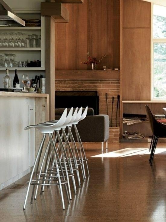 металлические барные стулья для кухни фото белые