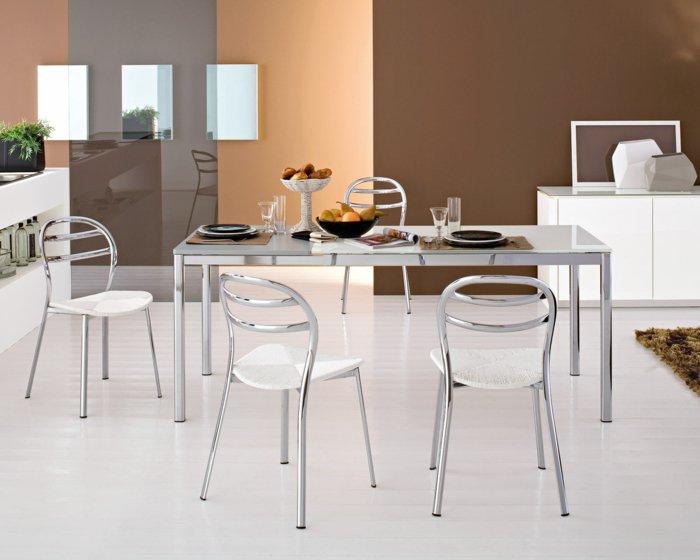металлические  белые стулья для кухни фото хромированные