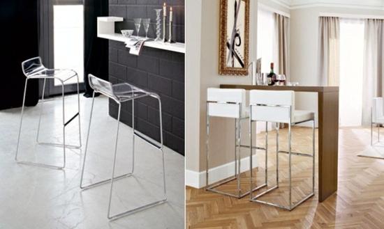 мягкие и пластиковые барные стулья для кухни фото белые прозрачные