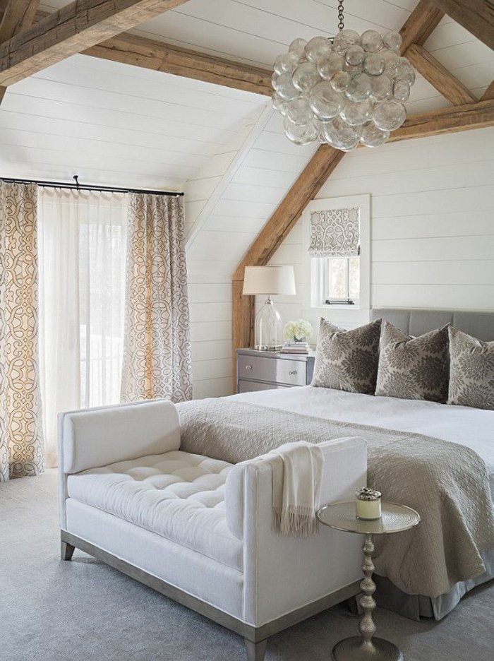 необычная современная люстра в интерьере спальни фото