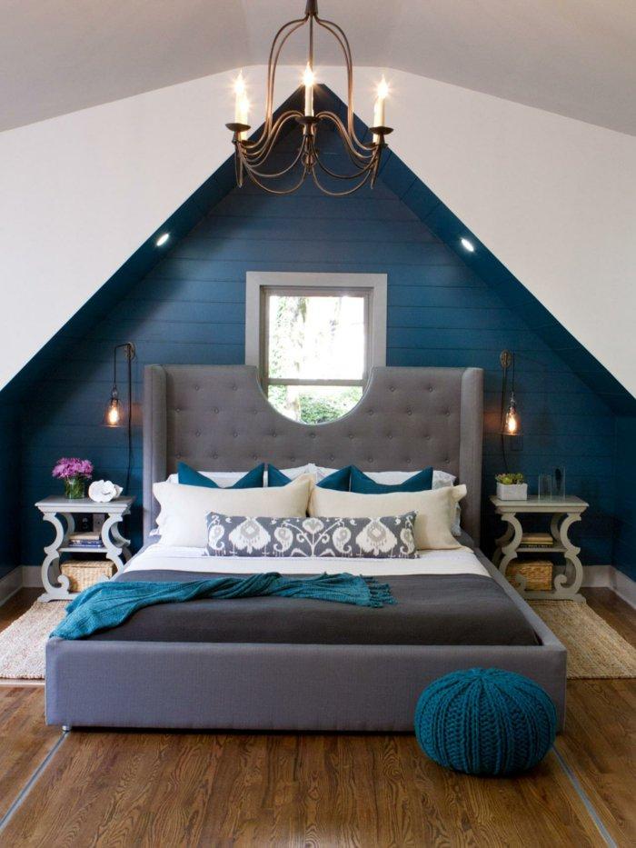 освещение спальни в интерьере фото синий серый белый