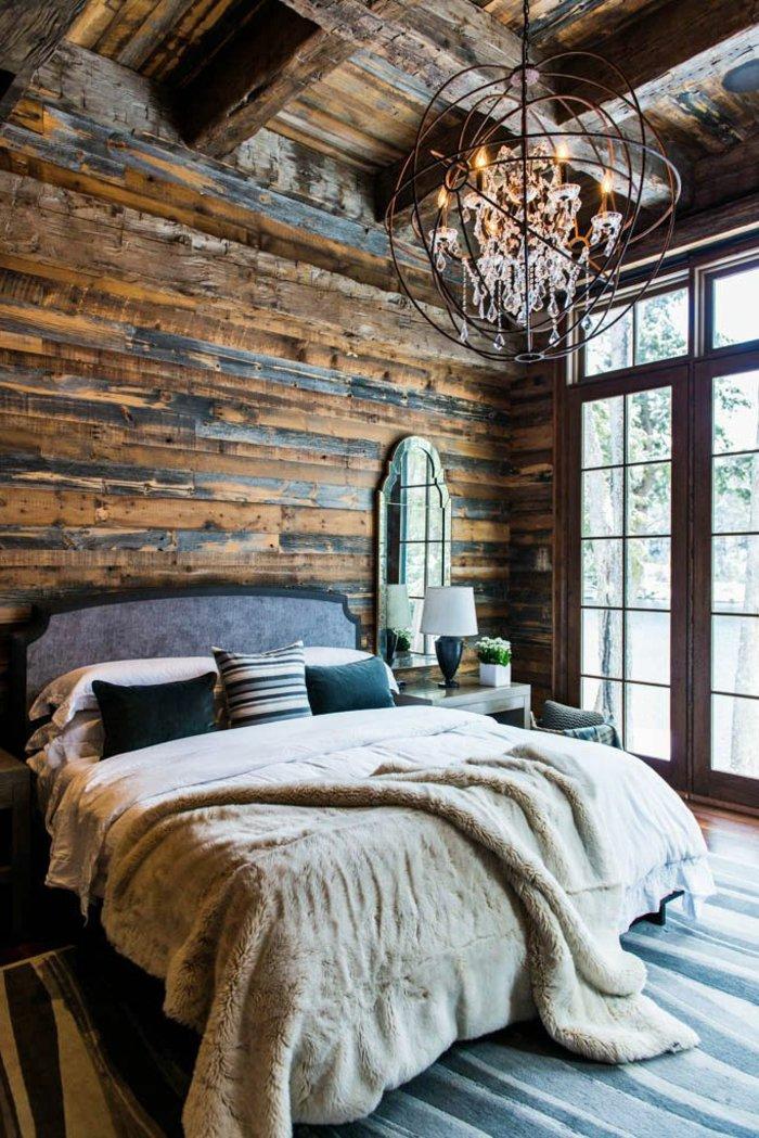 освещение в спальне фото деревенский стиль люстра стимпанк