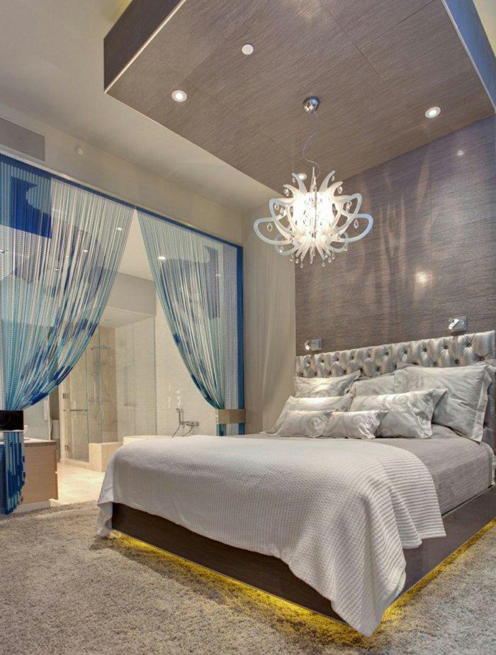 освещение в спальне фото необычная люстра