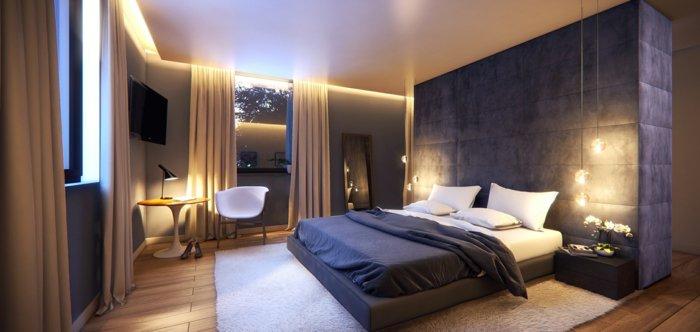 освещение в спальне с натяжными потолками фото
