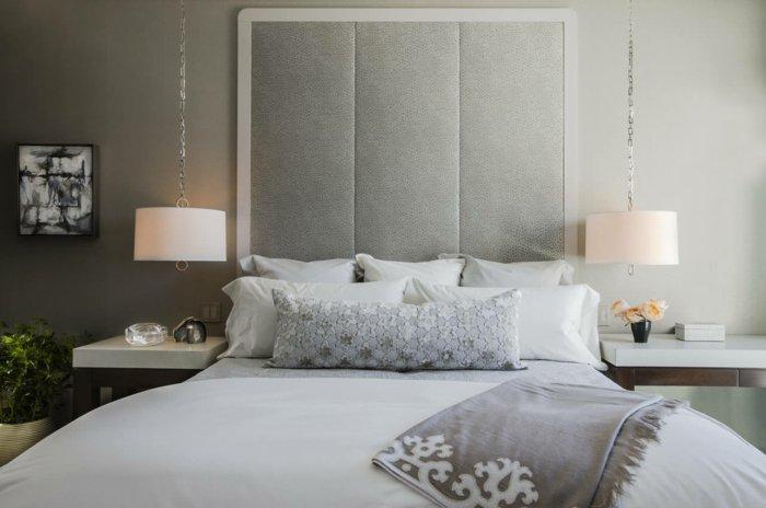 серая спальня освещение фото