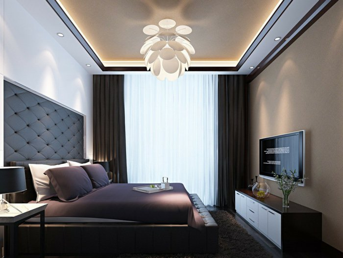 современная люстра в спальне фото в интерьере