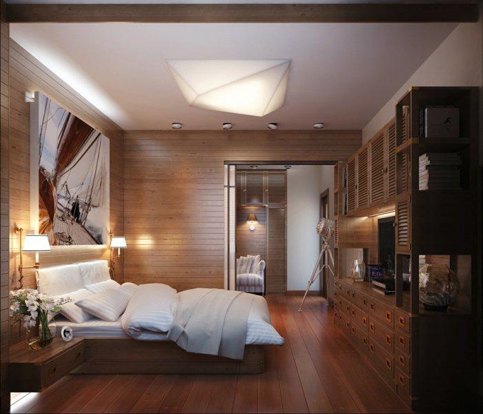 спальня в дереве фото необычная люстра геометрическая