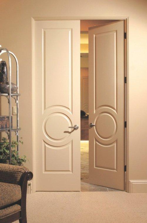 узкие белые межкомнатная дверь распашные классика фото