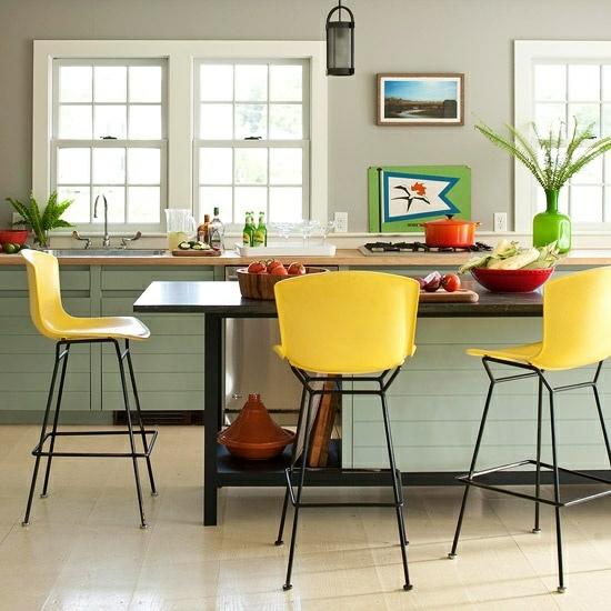 желтые барные стулья для кухни фото пластиковые со стойкой