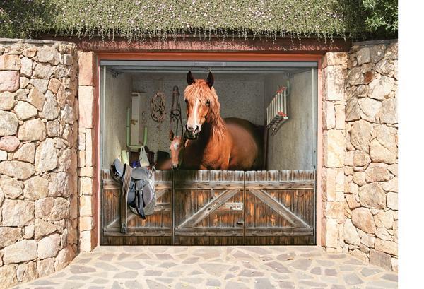 3D наклейки на ворота гаражные идеи фото конюшня