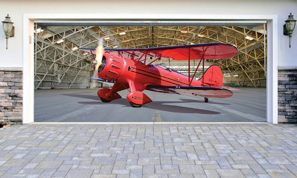3D наклейки на ворота гаражные идеи фото красный самолет ангар