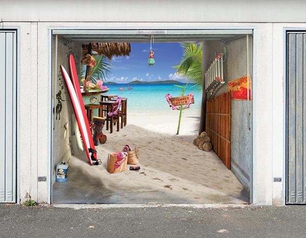 3D наклейки на ворота гаражные идеи фото морское побережье