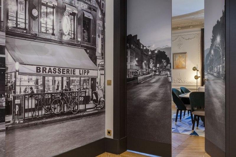 черно-белые фотообои париж в интерьере фото