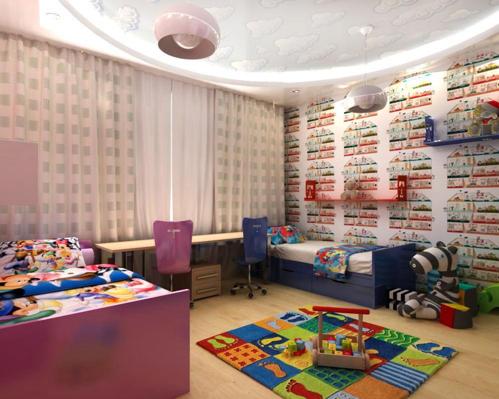 детская для девочки и мальчика зонирование