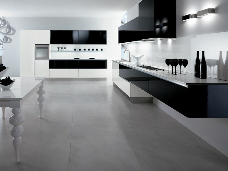 дизайн бело черной кухни фото интерьер глянцевый