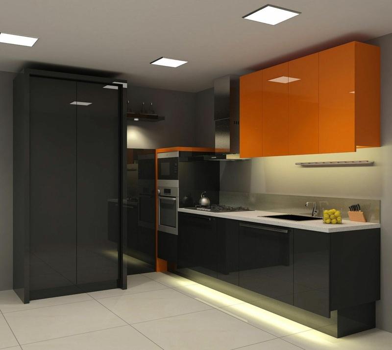 дизайн черно оранжевой глянцевой кухни фото интерьер