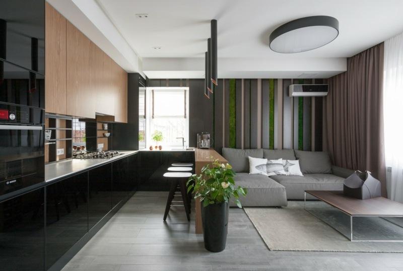 дизайн черного цвета угловой кухни фото интерьер с деревом студия гостиная