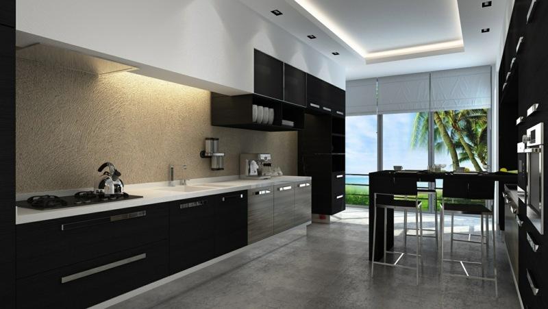 дизайн черной кухни фото интерьер белая столешница