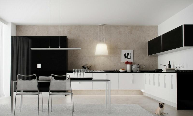 дизайн черной кухни фото интерьер черный верх белый низ минимализм