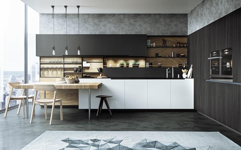 дизайн черной кухни фото интерьер дерево белый геометрический узор ковер