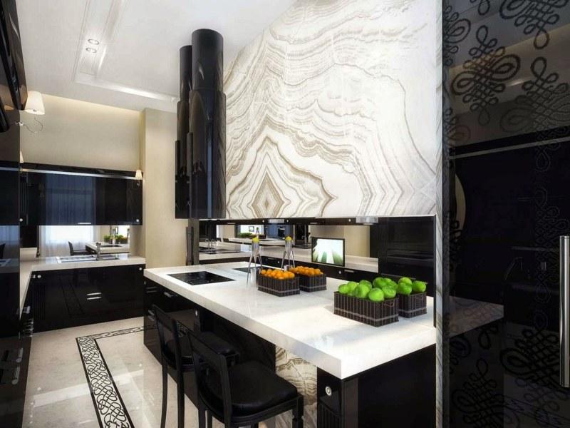 дизайн черной кухни фото интерьер глянец белый мрамор
