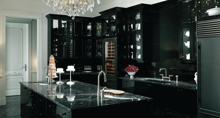 дизайн черной кухни фото интерьер глянец гранитная столешница мраморная